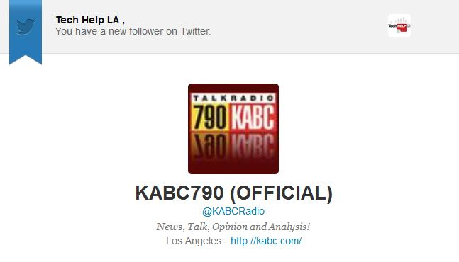 @KABCRadio Follows @TechHelpLA on Twitter