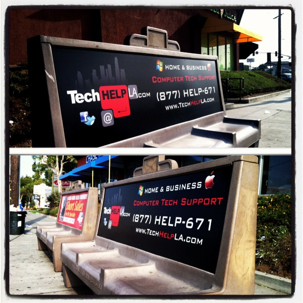 Tech Help LA Bus Bench Ad